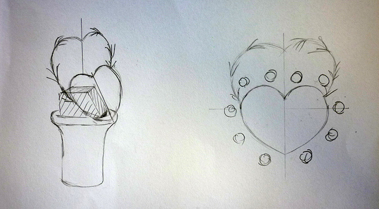 3 How to, How to arrange flowers with love shape. Draw your idea on a piece of paper.