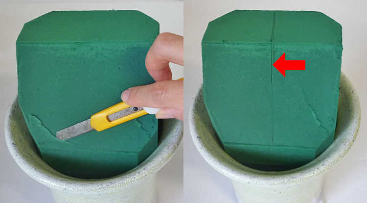 3 How to, How to arrange flowers with love shape. Prepare the floral foam.