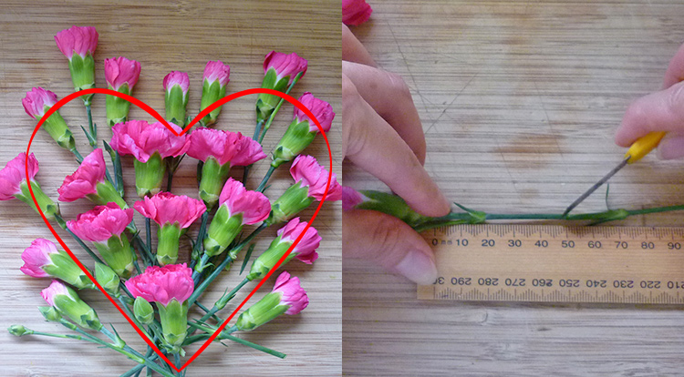 3 How to, How to arrange flowers with love shape. Prepare flowers.