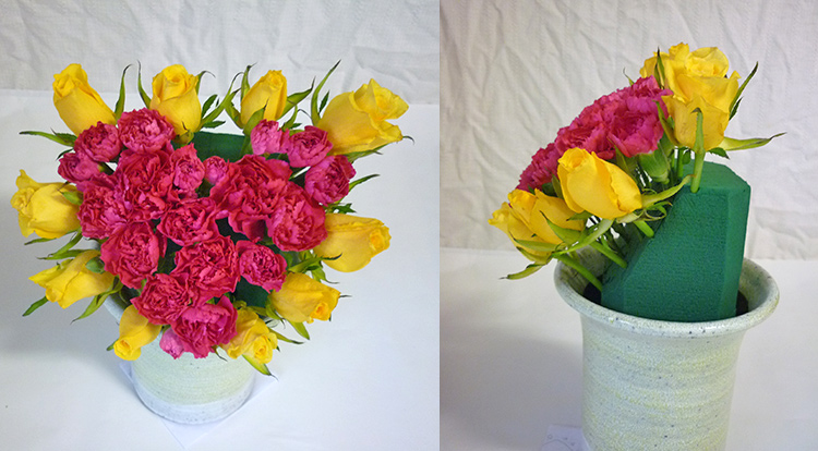 3 How to, How to arrange flowers with love shape. Inserting flowers around the love shape.