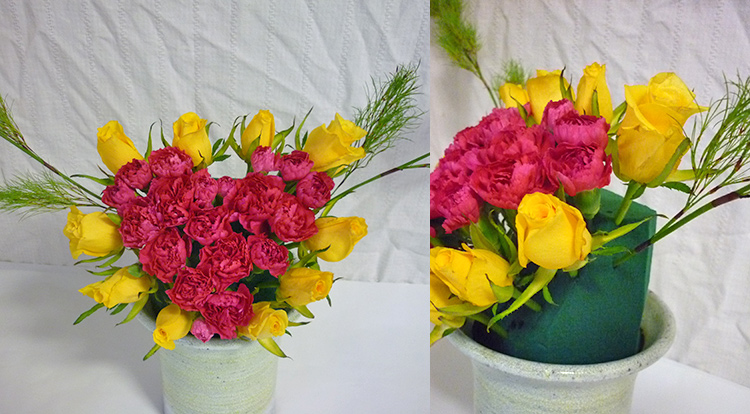 3 How to, How to arrange flowers with love shape. Create another love shape at background.