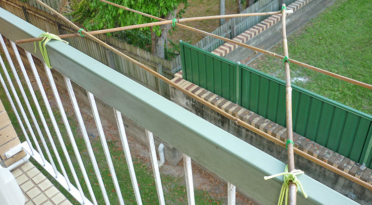 3 How to, Bamboo platform on balcony for plants. Connect to one side of railing.