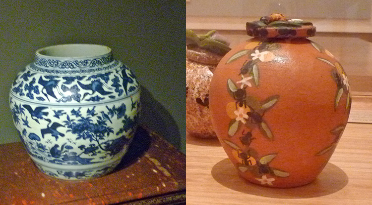 (Left)Jar, Chia Ching Period. (Right)Hermannsburg  Potter