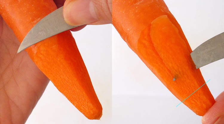 How to use a paring knife, example of using middle edge of a paring knife to carve a carrot flower