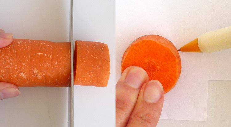 Carrot art lollipop-shaped, design a lollipop-shape on a piece of paper step 1