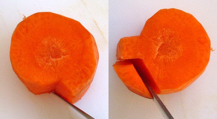 Carrot art lollipop-shaped, Carving a shaped carrot step 2