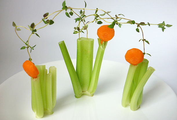 Carrot art lollipop-shaped, carrot shrub decoration, garnish with some thyme step finish