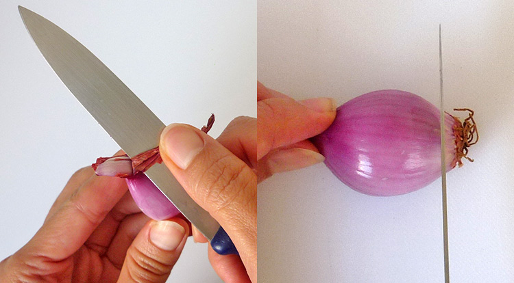 Easy vegetable carving, dice shallots step 1