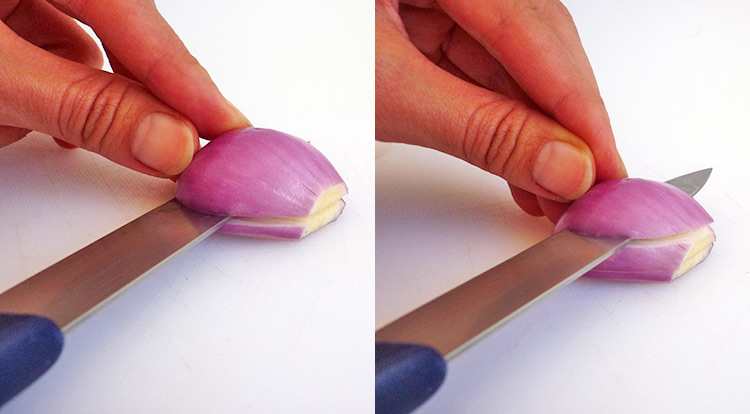Easy vegetable carving, dice shallots step 2
