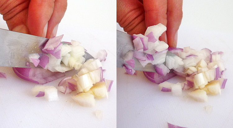 Easy vegetable carving, dice shallots step 6