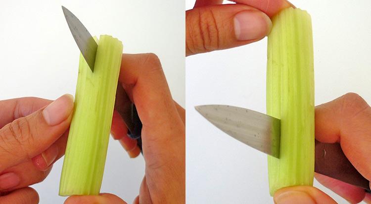 Easy vegetable carving, using celery to be pistils in the flower step 2