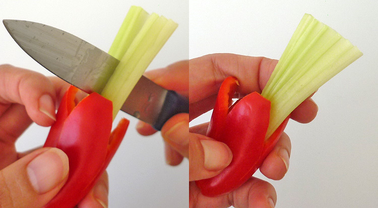 Easy vegetable carving, using celery to be pistils in the flower step finish