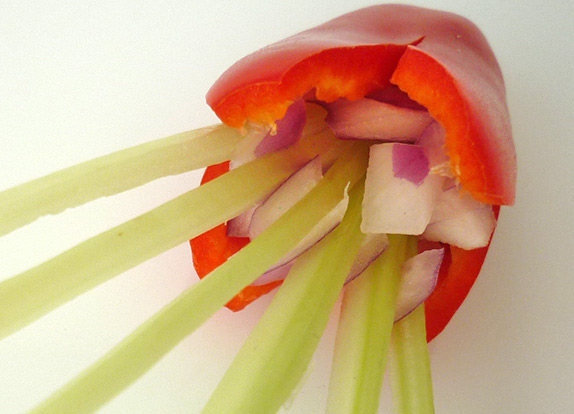 Easy vegetable carving, fill in diced shallots step finish