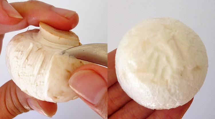 Mushroom art, peel mushroom skin off step 3