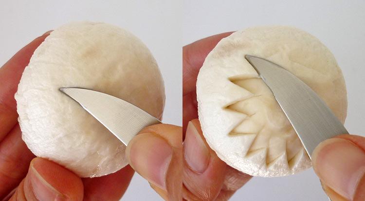 Mushroom art, carving a flower on a mushroom step 2