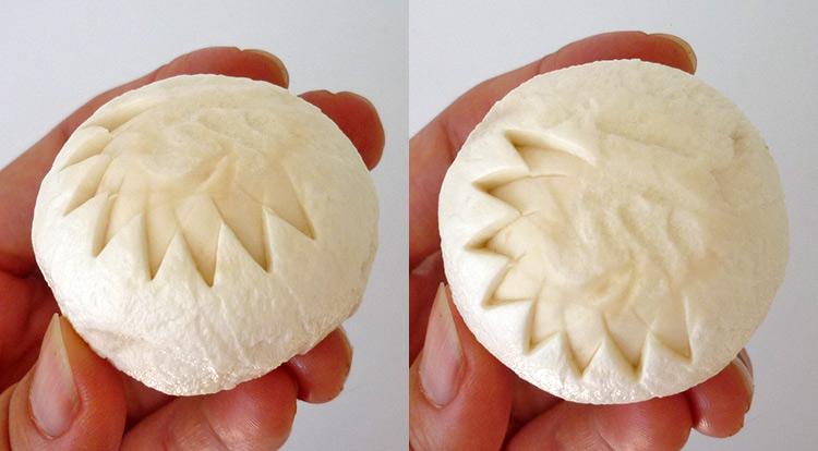 Mushroom art, carving a flower on a mushroom step 3
