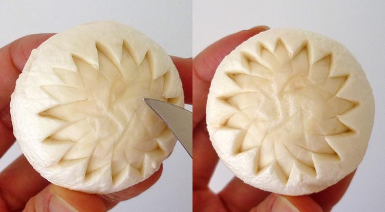 Mushroom art, carving a flower on a mushroom step 4