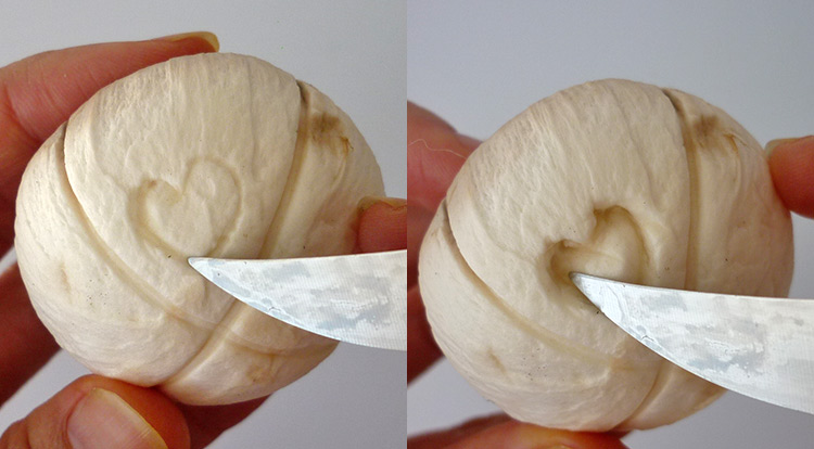 How to use a paring knife, example of using sharp end spine of a paring knife to garnish a heart shaped on a mushroom