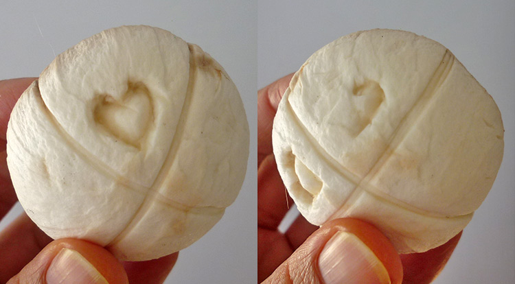 Mushroom art, a simple pattern with four hearts on a mushroom, making four hearts step 3