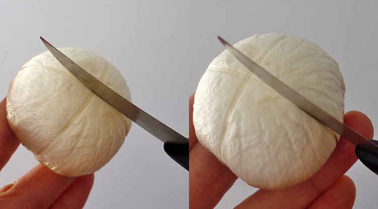 How to use a paring knife, example of using back of a paring knife to garnish a mushroom art.