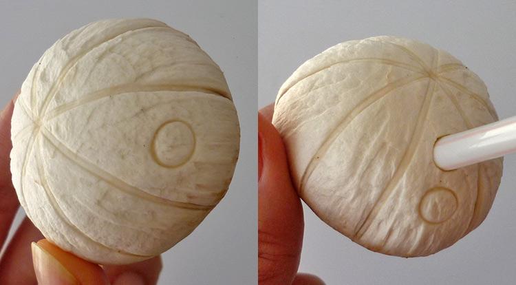 Mushroom art, a quick mushroom with stamping circles, making circle patterns step 3