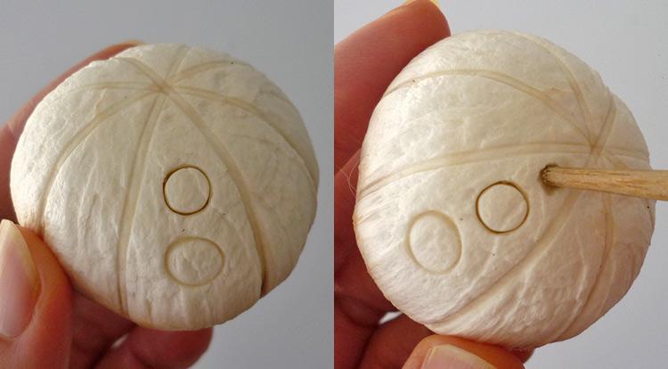 Mushroom art, a quick mushroom with stamping circles, making circle patterns step 4