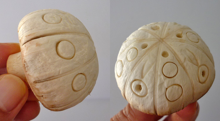 Mushroom art, a quick mushroom with stamping circles, making circle patterns, finish
