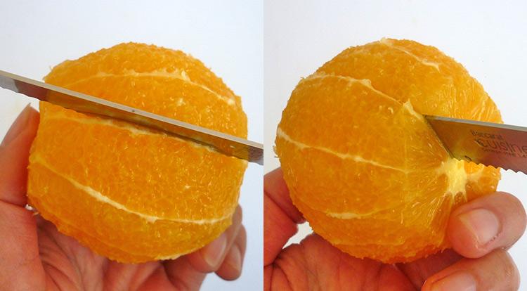 Orange art, Cut an orange into segments step 1