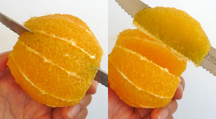 Orange art, Cut an orange into segments step 2
