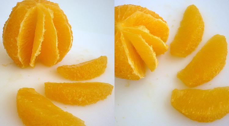Orange art, Cut an orange into segments step 5