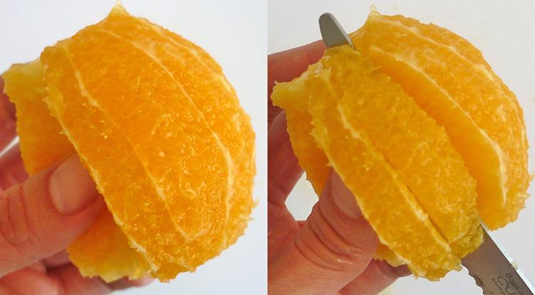 Orange art, Cut an orange into segments step 6