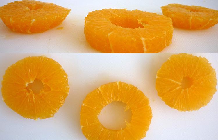 Orange art, Orange chain, slicing orange and making hole in the center step 9