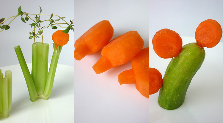 3 How to, carrot art lollipop shaped, result