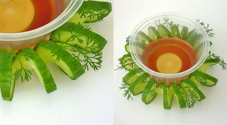 3 How to, Quick food art with cucumber spiral and a small sauce bowl