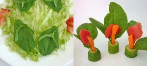 Easy food art with spinach leaves