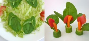 3 How to, Easy food art with spinach leaves