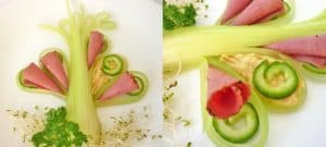 Food art with starry celery tree