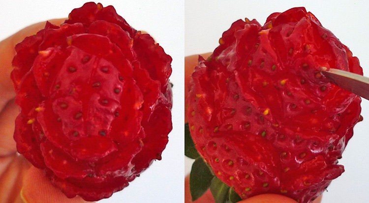 Strawberry rose, carving final petals