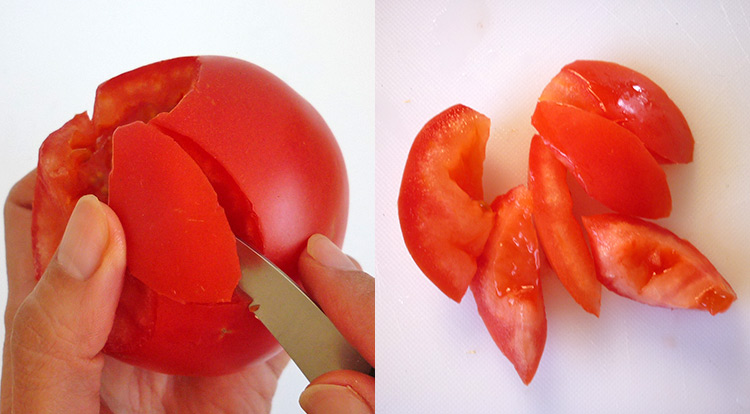 BBQ party vegetable, making oval-shaped tomato as the fire step