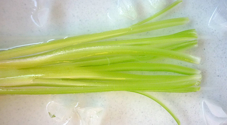 Food art with starry celery tree, soften celery stalk step 2