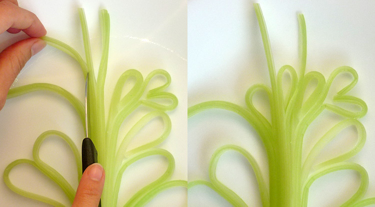 Food art with starry celery tree, making curly celery step 4