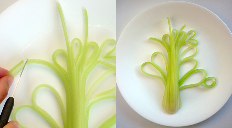 Food art with starry celery tree, making curly celery step 5