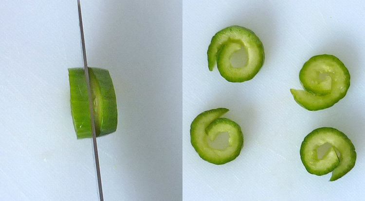 Food art with starry celery tree, create curly cucumber step 2