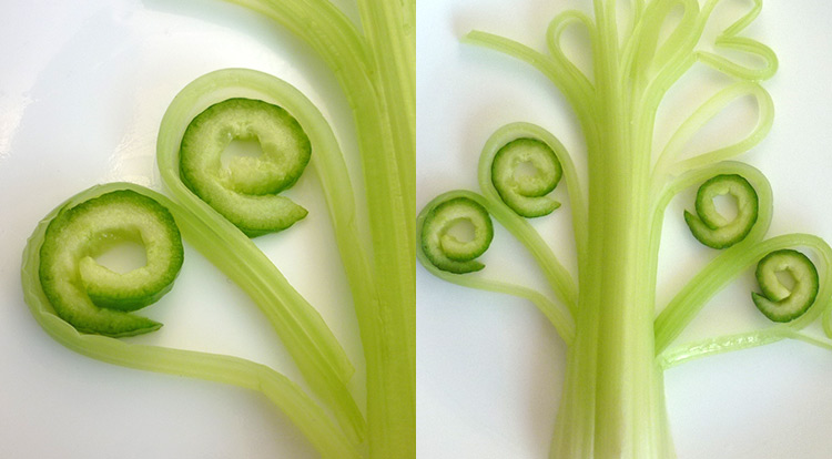 Food art with starry celery tree, create curly cucumber step 3