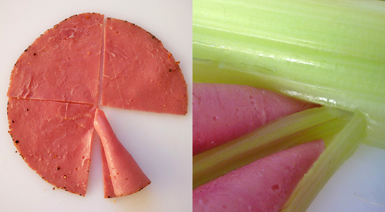 Food art with starry celery tree, garnishing with pastrami and dipping sauce step 1