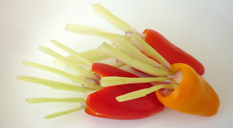 3 How to, Easy vegetable carving, a squid looking vegetable art, finish