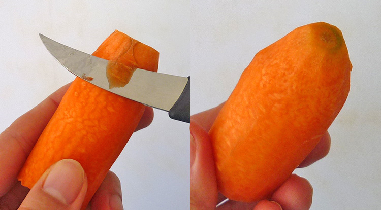 Food art with tomato, cutting carrot sticks, cutting a carrot without a narrow root step 2