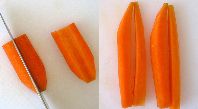 Food art with tomato, cutting carrot sticks, cutting a carrot without a narrow root step 3