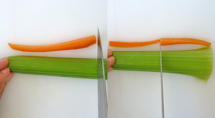 Food art with tomato, cutting celery sticks
