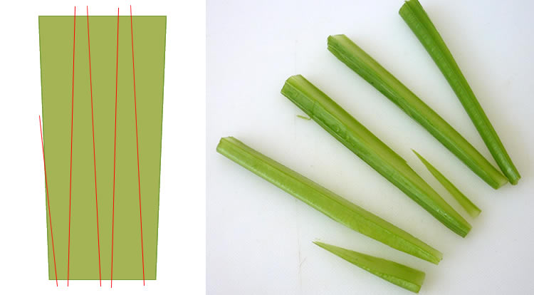 Food art with tomato, cutting celery sticks, celery stalk with a narrow end step 2